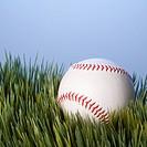 Studio shot of baseball resting in grass.