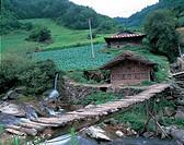 nature, bridge, mountain, landscape, scenery, stream