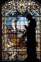 Stained Glass window in the Palais Benedictine in Fecamp, Normandy, France