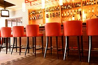 Interiors_leisure space of bar counter in western restaurant with luxury style