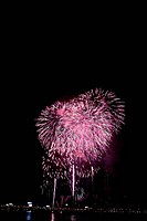 city, fireworks, landscape, scenery, event, city scenery, night