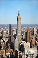 Aerial view of Empire State Building in Manhattan, New York