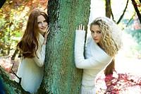 Autumn portrait of young women