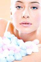 beauty woman with colorful swabs