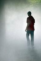 Rear view of a boy walking in the fog