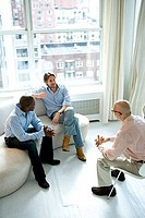 High angle view of two mature men and a mid adult man talking to each other