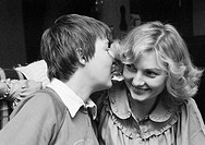 Seventies, black and white photo, people, two young women, whispering, portrait, aged 25 to 30 years, Monika, Jutta
