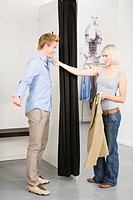 Young couple in changing room