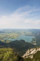 Germany, Bavaria, Herzogstand, Kochelsee, view of valley with lake