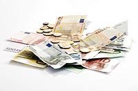 Various Euro coins and banknotes
