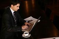 business, man, working, laptop, lounge, businessma