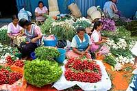 Sunday market in Tlacolula town.Vegetable vendors  . Oaxaca,Mexico.