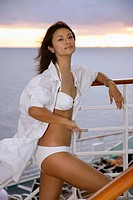 Chinese Woman Relax On The Board