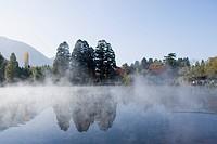 Lake Kinrin, morning mist, red leaves, Yufu, Oita, Kyushu, Japan, November
