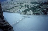 Gigantic suspension bridge in the karakorum mountains near Passu on the Karakorum Highway Northern Pakistan asia