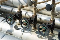 Canada, central Alberta. Natural gas compressor site infrastructure.