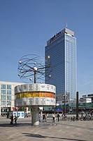 World time clock in front of the Park Inn Hotel at the Alexanderplatz in Berlin city, Germany, Europe