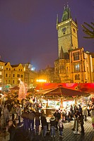 Old Town Square at Christmas time and Old Town Hall, Prague, Czech Republic, Europe