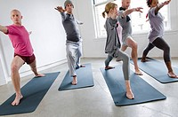 Students and instructor in yoga class, Vancouver, British Columbia