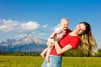 mother with her baby girl, Krivan, Vysoke Tatry High Tatras, Slovakia