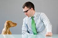 Businessman at a desk looking at his dog