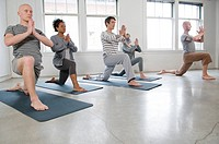 Students and teacher in a yoga class, Vancouver, British Columbia