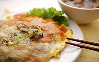 Oyster omelet on plate