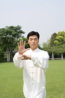 Man doing Tai Chi on lawn