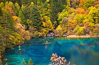 China, Sichuan Province, Nine Village Valley, pond with autumn foliage