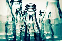 Close-up of a set of empty glass bottles  Selective approach