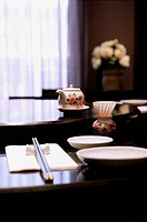 Place setting in restaurant, close_up