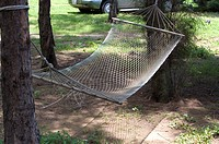 A hammock hanging between the two trees
