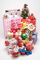 Close_up of wrapped presents and decorations for Christmas