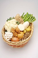 Close_up of a basket of different kinds of fruits and vegetables