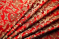 Close_up of textile with lucky pattern of Chinese style