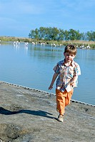 Boy nature lake