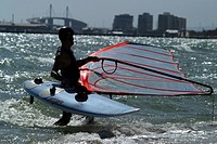 Windsurfer in water.Melbourne .Agent 109 Ewing