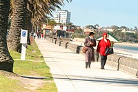 A typical Melbourne Beach. St. Kilda, People enjoying their weekend.2003 Photography David Ewing
