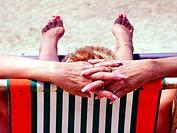 Woman suntanning