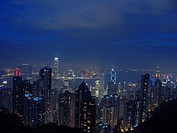 Hongkong by night: Central District with the International Finance Centre and the Bank of China Tower.