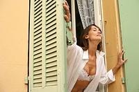 Woman breathe window