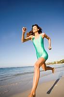 Woman sport beach.