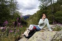 Woman hiking.
