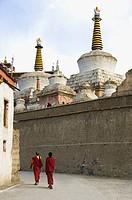 Two monks walking in a monastery, Lamayuru Monastery, Ladakh, Jammu and Kashmir, India