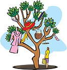 Woman carrying shopping bags under a tree
