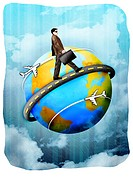 Businessman walking around a globe with a briefcase