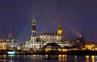 Roman catholic church lit up at night, Elbe River, Dresden, Saxony, Germany