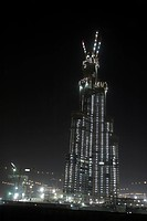 Construction Of Buildings In Dubai At Night