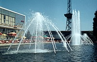 Water fountain in front of restaurant