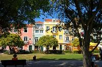 Colourful Belem. Jardim Vasco da Gama. Lisbon, Portugal.